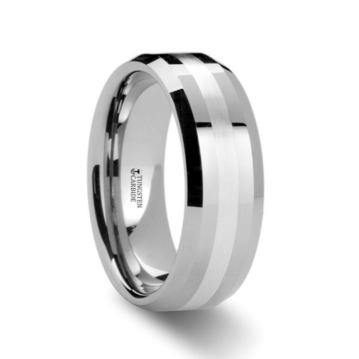 Palladium Inlay Tungsten Wedding Band, Beveled