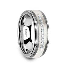 Load image into Gallery viewer, 9 Diamond Tungsten Wedding Band with Brushed Silver Raised Center