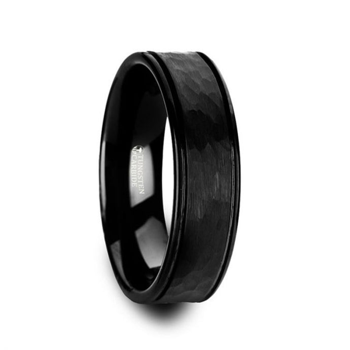 Grooved Black Tungsten Carbide Ring with Hammer Finish Center