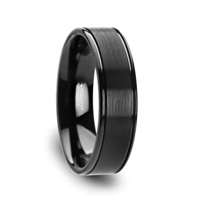 Brushed Finish Black Tungsten Carbide Ring with Grooved Edges