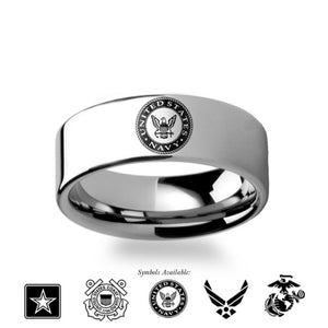 Air Force, Navy, Army, Marines Symbol Engraved Tungsten Ring