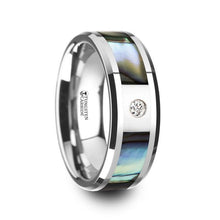Load image into Gallery viewer, Mother of Pearl Inlay Tungsten Ring with White Diamond