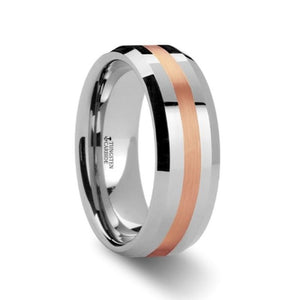Rose Gold Inlay Tungsten Carbide Ring, Beveled Edges