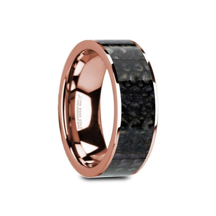Blue Dinosaur Bone Inlay 14K Rose Gold Ring