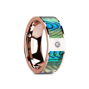 Mother of Pearl Rose Gold Wedding Band with Diamond, 14K