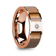 Load image into Gallery viewer, Zebra Wood Inlay Rose Gold Wedding Ring with White Diamond