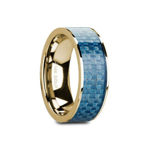 Blue Carbon Fiber Inlay 14K Yellow Gold Ring, Flat, Polished Edges
