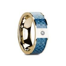 Load image into Gallery viewer, Blue Carbon Fiber Yellow Gold Ring with White Diamond, 14K