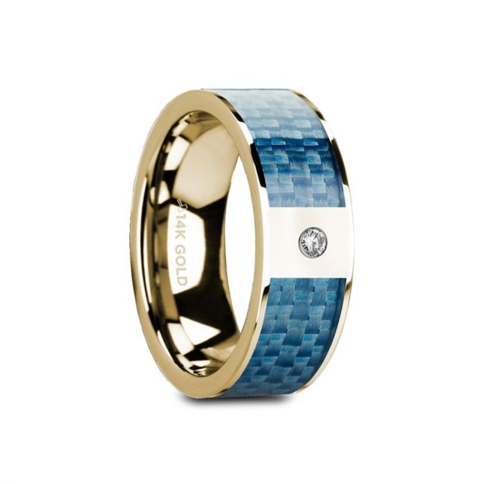 Blue Carbon Fiber Yellow Gold Ring with White Diamond, 14K