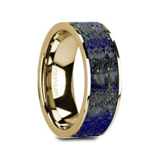 Load image into Gallery viewer, Blue Lapis Lazuli 14K Yellow Gold Ring, Flat, Polished Edges