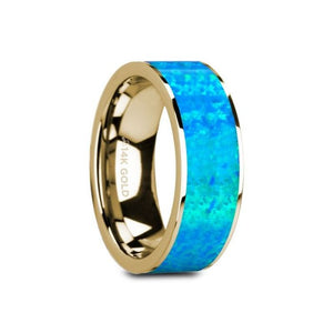 Blue Opal Inlay 14K Yellow Gold Wedding Band, Engagement Ring