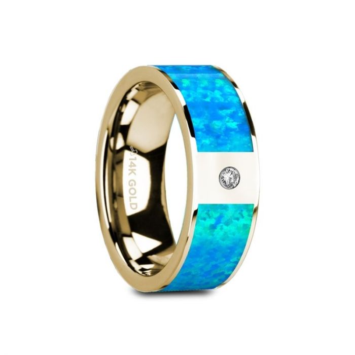 Blue Opal Inlay 14K Yellow Gold Ring with White Diamond