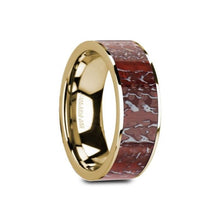 Load image into Gallery viewer, Red Dinosaur Bone Inlay 14K Gold Wedding Band