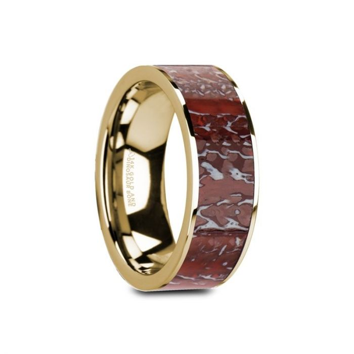 Red Dinosaur Bone Inlay 14K Gold Wedding Band