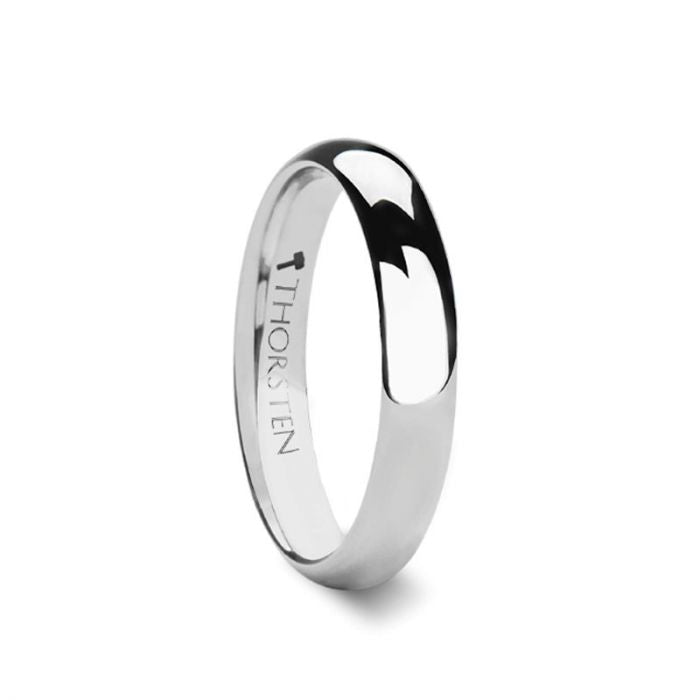 Polished Rounded White Tungsten Carbide Wedding Ring