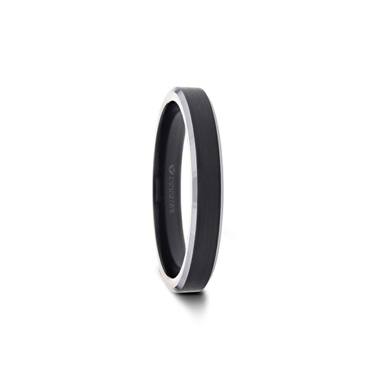 Black Tungsten Ring with Polished Silver Edges
