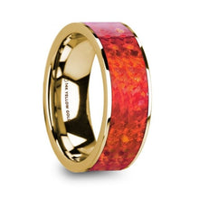 Load image into Gallery viewer, Red Opal Inlay 14K Yellow Gold Wedding Band, Engagement Ring
