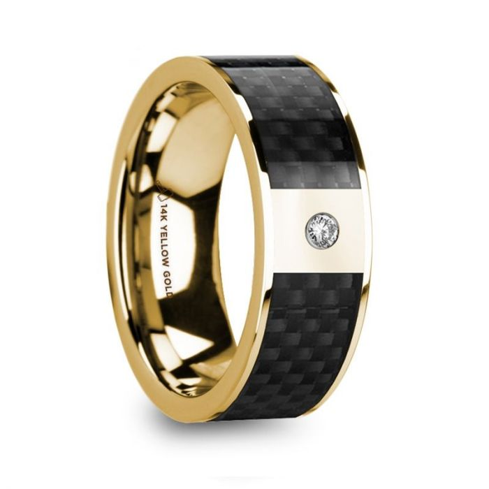 Black Carbon Fiber 14K Yellow Gold Wedding Band with Diamond
