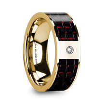 Load image into Gallery viewer, Black Red Carbon Fiber 14K Yellow Gold Ring with Diamond