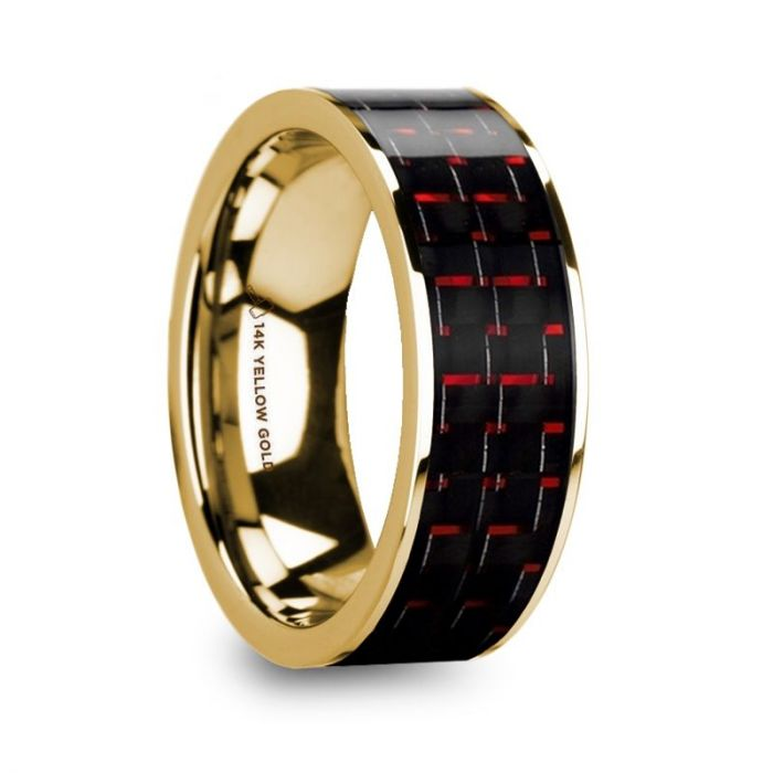Flat Red Black Carbon Fiber Inlay 14K Yellow Gold Band