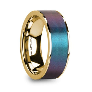 Blue Purple Color Changing Inlay 14K Yellow Gold Ring