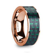 Load image into Gallery viewer, Black Green Carbon Fiber 14K Rose Gold Ring, Flat, Polished Edges