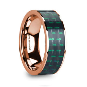 Black Green Carbon Fiber 14K Rose Gold Ring, Flat, Polished Edges