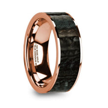 Load image into Gallery viewer, Blue Dinosaur Bone Inlay Wedding Band, 14K Rose Gold, Flat
