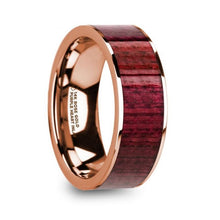 Load image into Gallery viewer, Purpleheart Wood 14K Rose Gold Wedding Ring, Flat, Polished Edges