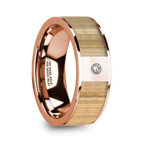 Ash Wood Inlay 14K Rose Gold Ring with White Diamond