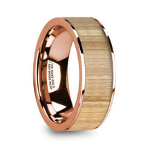 Load image into Gallery viewer, Ash Wood Inlay Rose Gold Wedding Band, Flat, Polished Edges