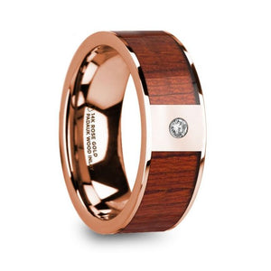 Padauk Wood Inlay Rose Gold Ring with Diamond, 14K, Flat