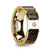 Load image into Gallery viewer, Brown Dinosaur Bone Gold Ring with White Diamond, 14K