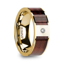 Load image into Gallery viewer, Red Wood Inlay Yellow Gold Ring with White Diamond, 14K, Flat