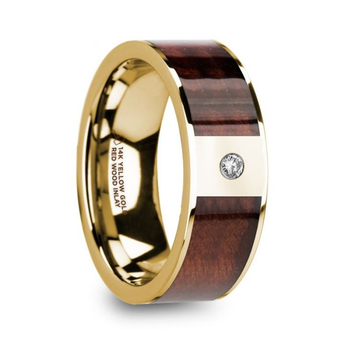 Red Wood Inlay Yellow Gold Ring with White Diamond, 14K, Flat