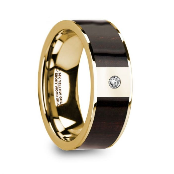 Exotic Ebony Wood 14K Yellow Gold Wedding Band with Diamond