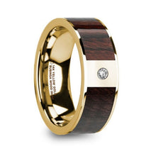 Load image into Gallery viewer, Bubinga Wood Gold Ring with White Diamond, Wedding Band