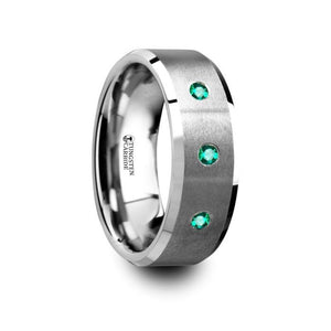 3 Emerald Brushed Finish Tungsten Wedding Band, Beveled Edges