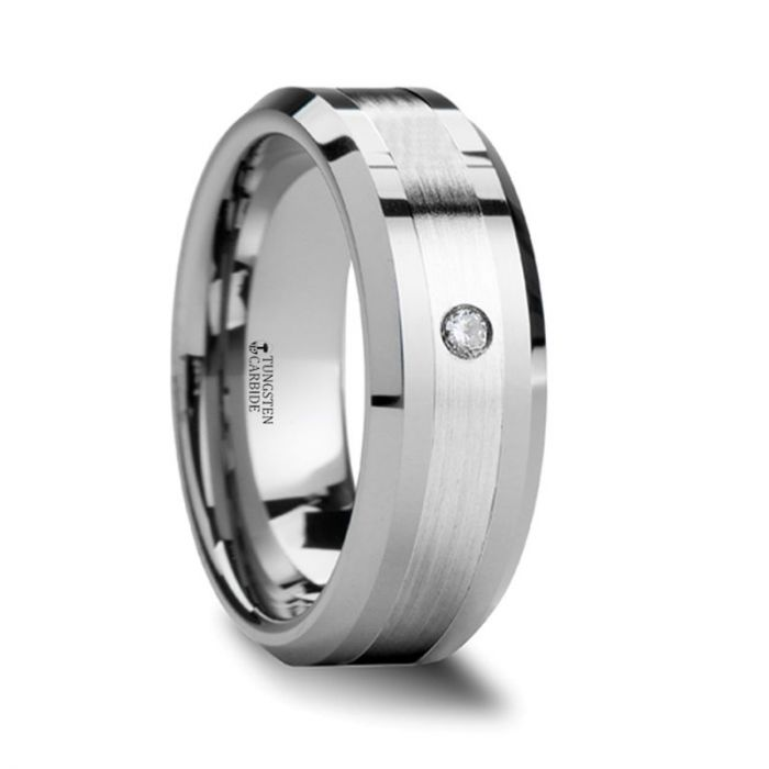 Tungsten Wedding Band with Diamond, Platinum Inlay, Beveled