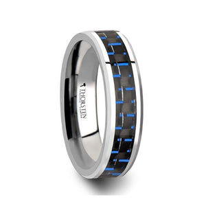 Black Blue Carbon Fiber Center Tungsten Ring