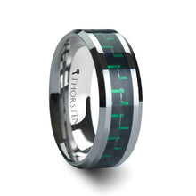 Load image into Gallery viewer, Green Black Carbon Fiber Tungsten Ring