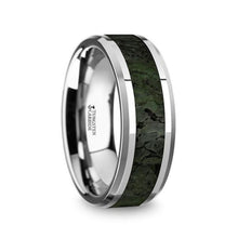 Load image into Gallery viewer, Dark Green Dinosaur Bone Tungsten Wedding Band