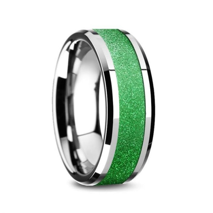 Sparkling Green Inlay Tungsten Wedding Ring, Beveled Edges