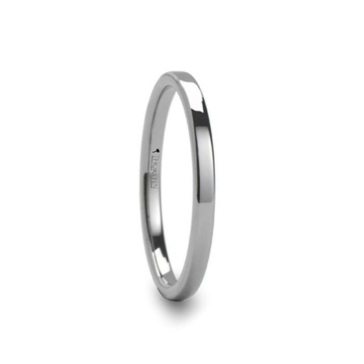 Flat Style Polished Tungsten Carbide Ring for Her