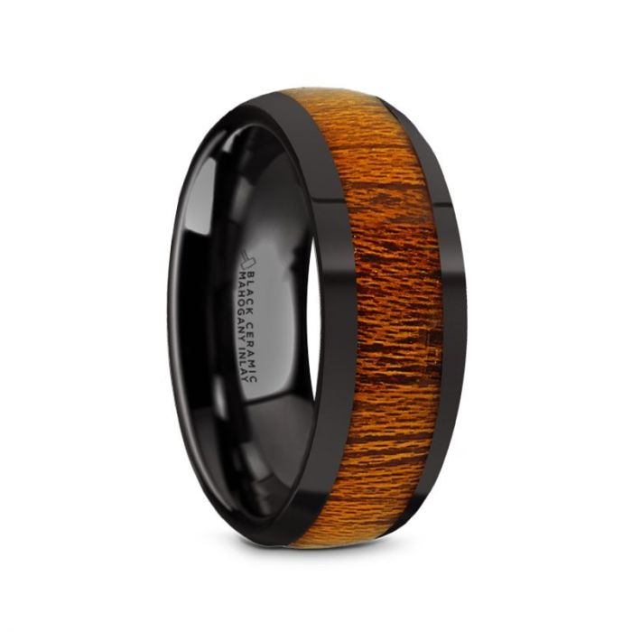 Domed Mahogany Wood Black Ceramic Ring