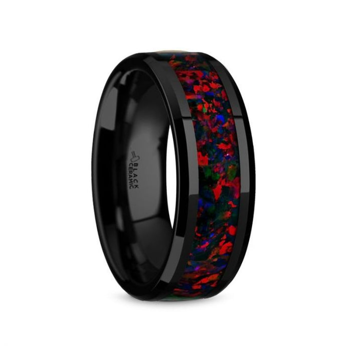 Red Black Opal Black Ceramic Wedding Ring, Flat, Beveled