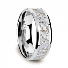 Load image into Gallery viewer, White Dinosaur Bone Inlay Tungsten Carbide Ring, Beveled Edges