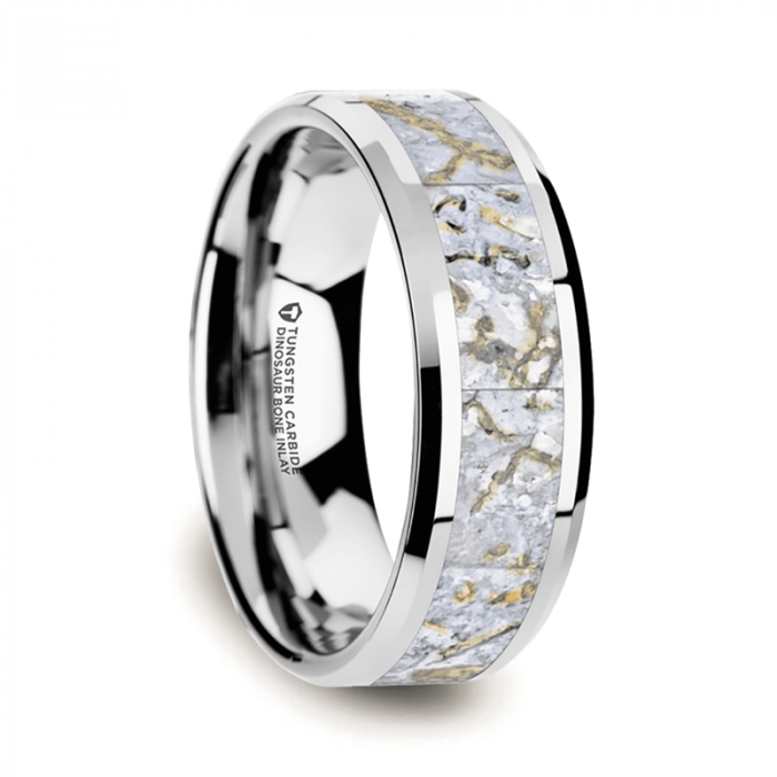 White Dinosaur Bone Inlay Tungsten Carbide Ring, Beveled Edges
