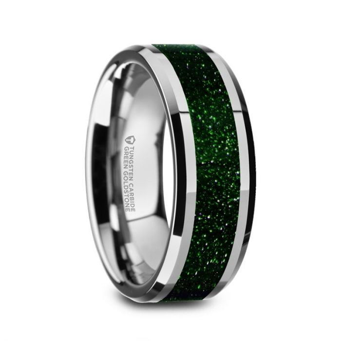 Precious Green Goldstone Inlay Tungsten Carbide Ring, Beveled