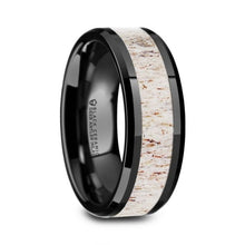 Load image into Gallery viewer, Real Deer Antler Inlay Black Ceramic Wedding Band, Beveled